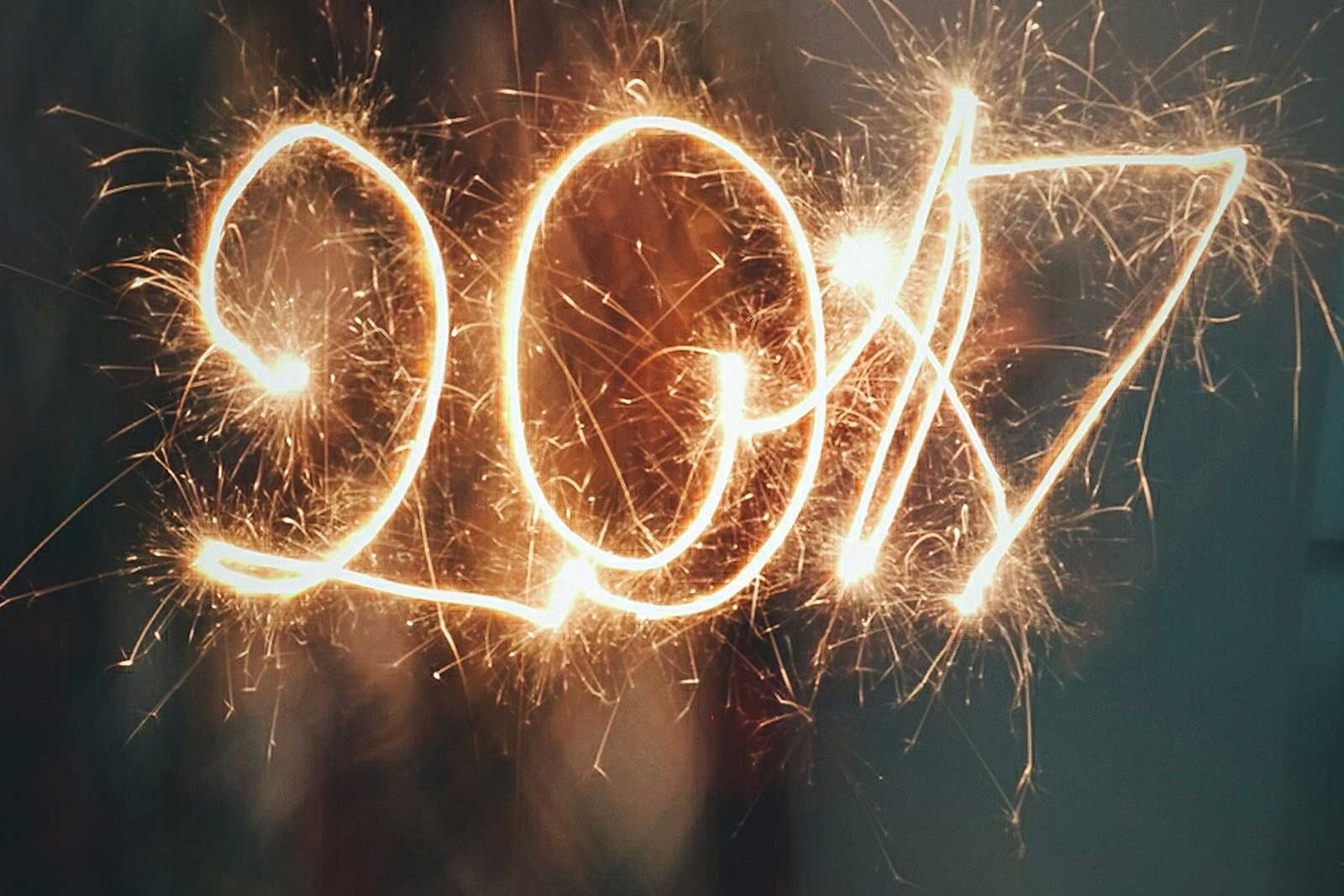 The year 2017 spelled out with sparklers.