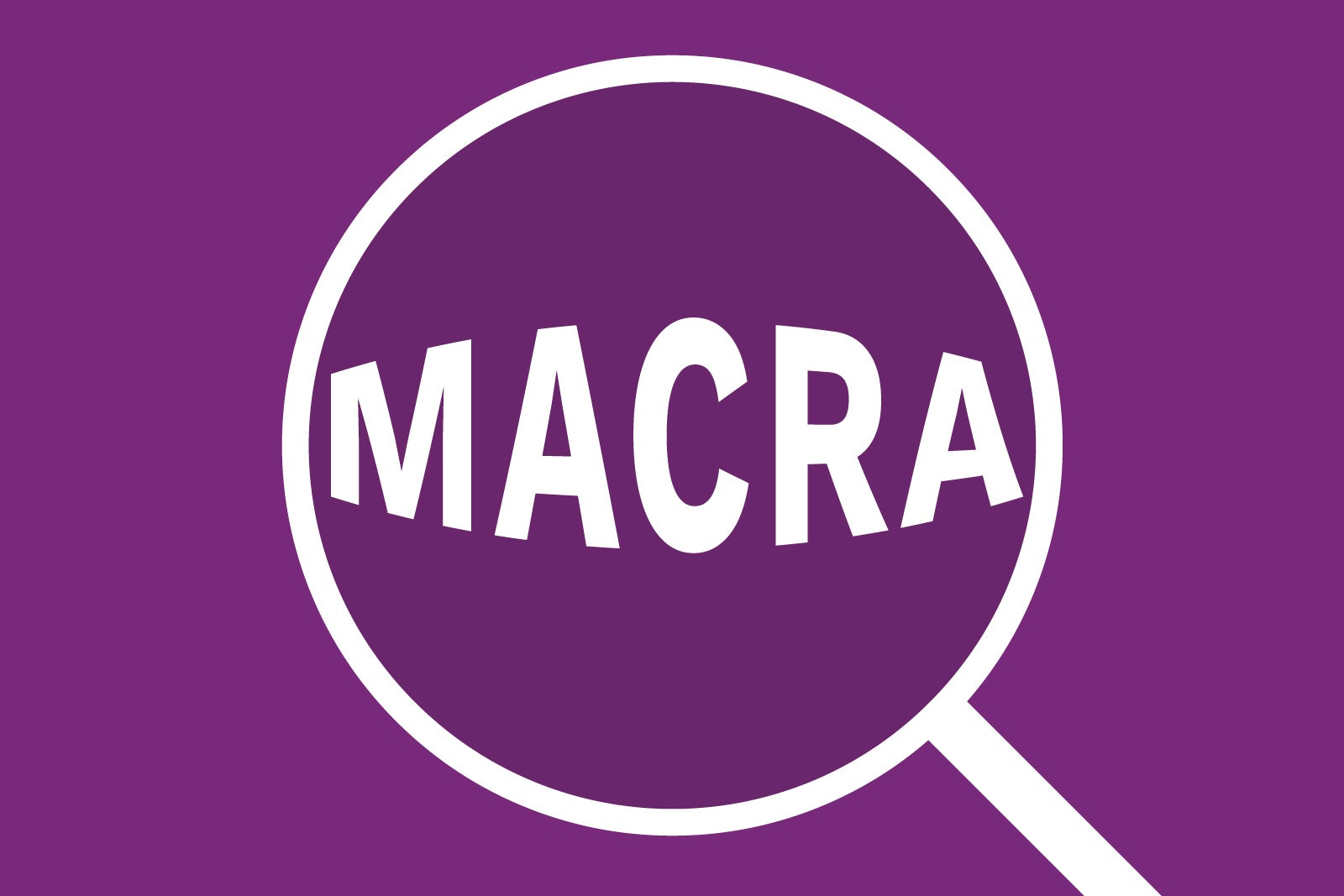 """MACRA"" shown in magnifying glass."