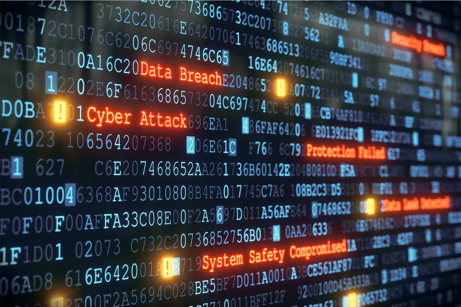 Data board showing reports of cyber attack and system safety compromised.