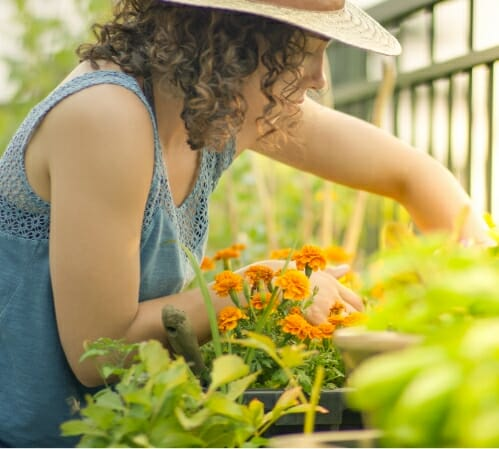 Woman tending to her flower garden to illustrate benefits of Phreesia's Care Pathways for Neuro, Pain and Spine application