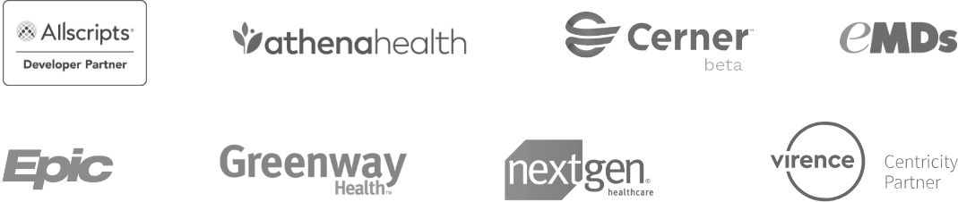 Logos of the EMR/PM system companies that integrate with Phreesia.
