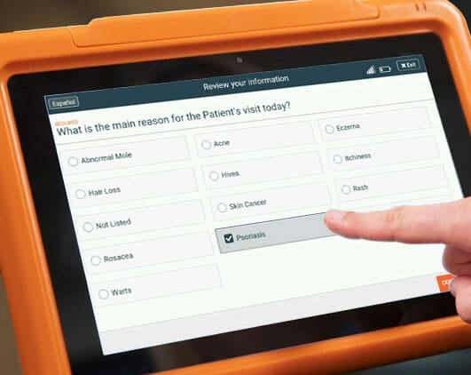Sample dermatology practice patient intake form on the PhreesiaPad tablet, patient indicating psoriasis