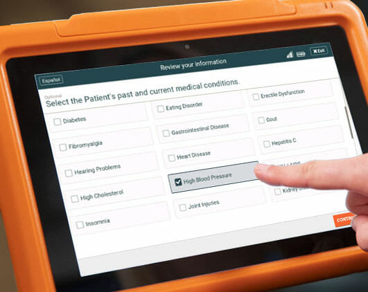 Sample internal medicine practice patient intake form on the PhreesiaPad tablet, patient indicating high blood pressure
