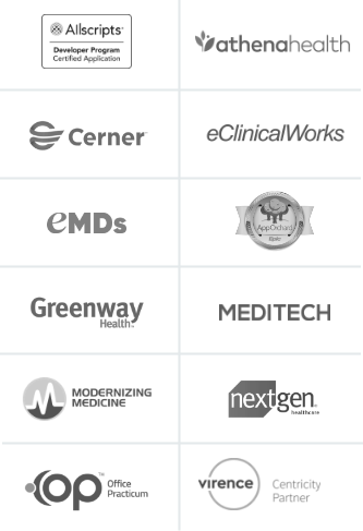 Logos of Phreesia's EMR and PM system patient data integration partners